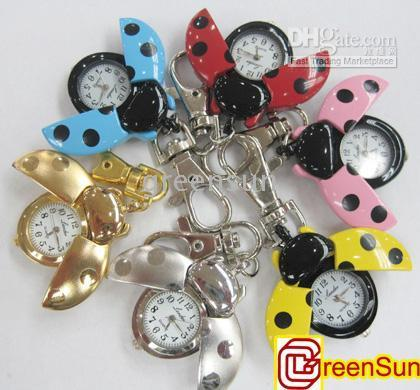 Cheap Ladybug Pocket Key Ring Chain Watch Clock Gift GU16 80pcs lot