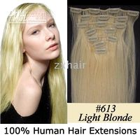 "20"" 7pcs set Clip- in hair remy Human Hair Extensions #6..."