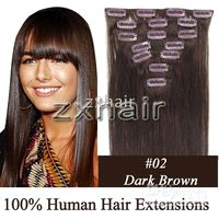 "5sets remy india human hair 20"" 7pcs set Clip- in hair H..."