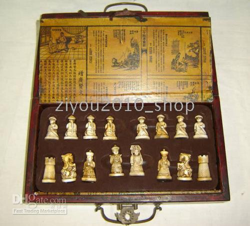 asian board games - Rare Asian Chinese chess pieces board box game