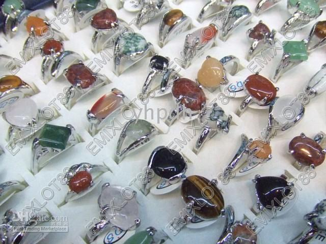 Wholesale Best Selling Jewelry Ring Mix Colorful Natural Stone Gemstone Rings Women s Wedding Ring ST11