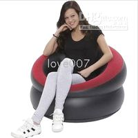 Wholesale Brand new inflatable sofa bed single cylindrical Flocked Air Bed fashion furniture