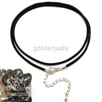 Wholesale 50 PIECE PER ADJUSTABLE INCH CM INCH CM BLACK SILK CORD NECKLACE WITH METAL LOBSTE