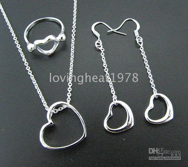 Bracelet & Necklace Gift Plastic Wholesale - 925 sterling silver Bracelets Necklaces set Earrings+ Rings Jewelry
