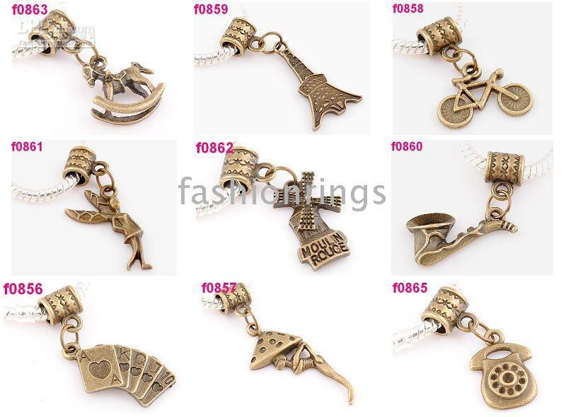 Wholesale Bronze christmas mixed style Charm Pendant Bracelet