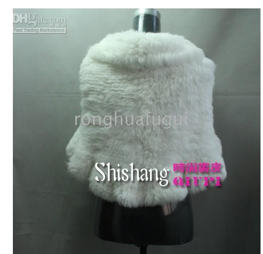 Wholesale Rabbit fur shawl rabbit shawl fur cape wood ear white black pink red