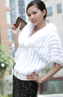 Wholesale Autumn and winter bat shirt with detachable fox fur collar knit shawl rabbit fur coat