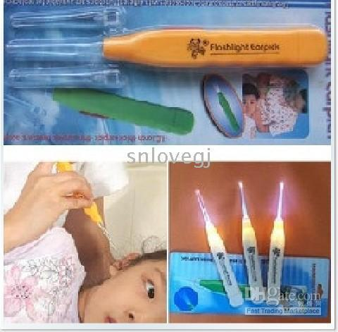 Wholesale Led light LED mini flashlight light emitting curette Cleaning Supplies ear spoon earpick ear pick