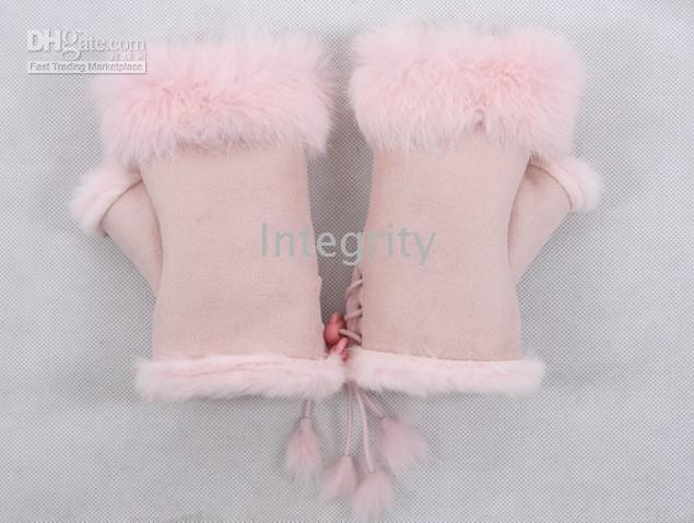 Wholesale New Rabbit fur gloves Half finger gloves Christmas rabbit hair gloves Mixed