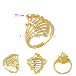 Women's Jewelry 18k real yellow gold filled sector ring