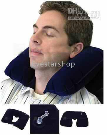Wholesale U Shaped Inflatable Neck Rest Air Travel Pillow Cushion T002