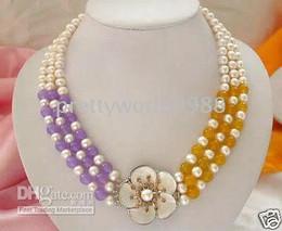 genuine New 3 row white pearls purple & yellow jade necklace