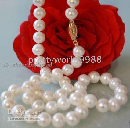 Women's akoya pearl jewelry - New Fine Pearl Jewelry genuine AAA MM Beautiful White Akoya Pearls Necklace INCH