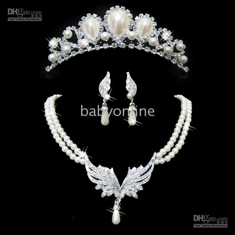 imitation jewelry - New design Ivory Alloy with Clear Crystals and Imitation Pearls Wedding Bridal Jewelry Sets WH7019