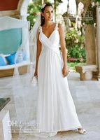 Beaded Tank Soft Chiffon A- Line Gown Straps Plunging V Neck ...
