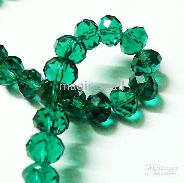 Wholesale 40pcs mm Dark Green Faceted Rondelle Crystal Glass Beads