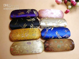 Color Glasses Case Eyeglass Case Box High grade Silk Flower Gorgeous Spectacles Case 5 pcs lot mix color Free