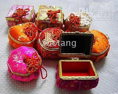 silk brocade jewelry mirror - Mirror Jewelry Boxes Storage pack Mix Color Chinese Knot Silk Printed Packaging Cases