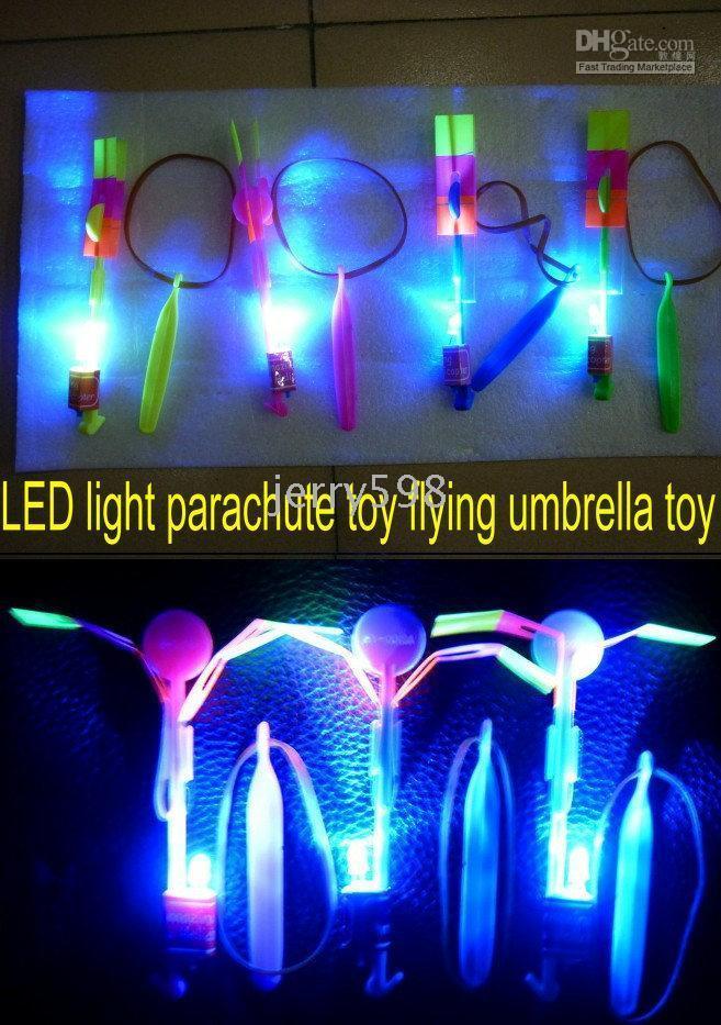 Wholesale HOT SELLING Christmas gift LED light parachute toy LED ejection device LED flying umbrella toy