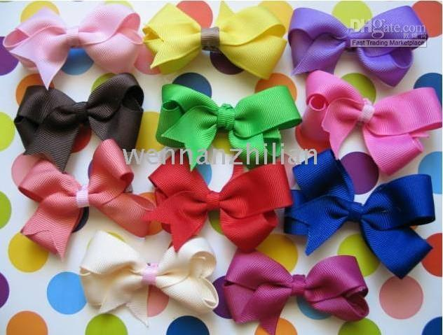 Wholesale Small Chunky Solid Hair Bows Yellow Medium Boutique Hair Bow wnzlA2