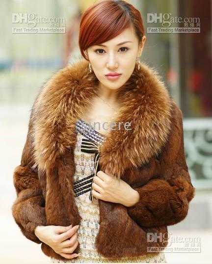 Wholesale women furs Rabbit hair raccoon collar coat Outerwear Women s Fur Coats mix order color