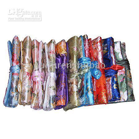 Wholesale Silk Travel Jewelry Rolls - Jewelry Travel Roll Bag Storage Silk Printed Zipper Rope 10pcs lot mix color