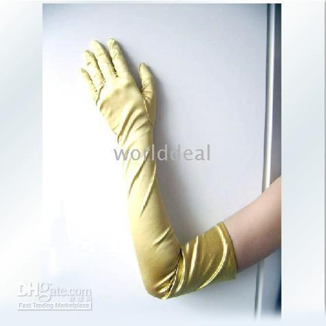Wholesale 24 pairs Long cm gold Evening Opera Wedding Satin Gloves for party Halloween show