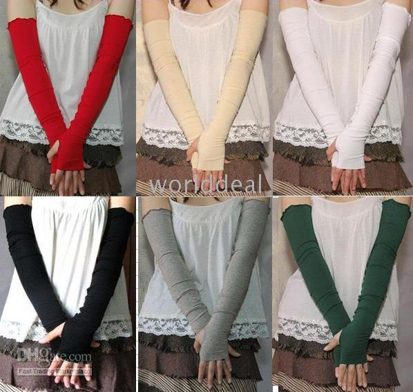 Wholesale 10 Pairs of Soft Stretchy Long Sleeve Fingerless cotton Gloves colors