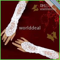 Wholesale 1 pairs Ladies ivory Stretchy Satin lace gloves wedding bridal opera a09