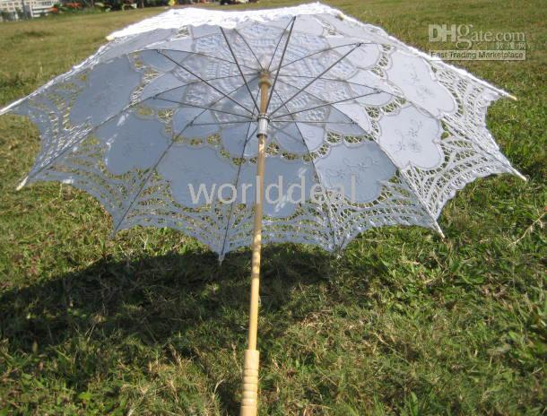 lace parasol umbrella - Vintage palace style white Parasol Umbrella for wedding party Bridal batten lace handmade high quality a0093