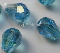 Wholesale China s ornaments Free Ship drop glass crystal sea blue AB spacer beads