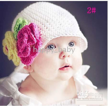 Wholesale Knit Hats For Infant Girls - Baby crochet hats beanies,Flower knitting HANDMADE crochet caps dicers for kids infants toddlers