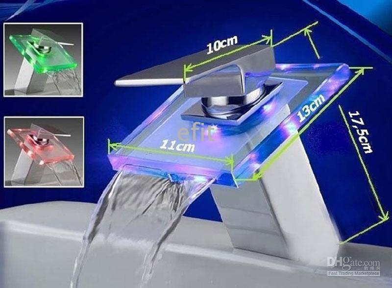 Wholesale LED FAUCET GLASS WATERFALL BASIN BATHROOM SINK TAP FAUCET RGB
