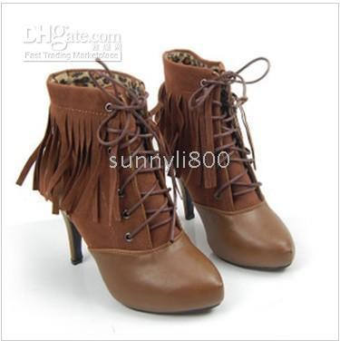 Ankle Boots Snow Boots Women Wholesale Fashion Stiletto Europe New Sexy Tassel Charm Lace-Up Heels Ankle Shoes US5-8.5