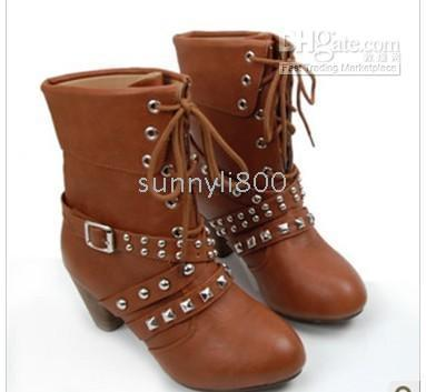 Half Boots Snow Boots Women Wholesale New Sexy Stiletto Europe brown Charm Lace-Up Rivets Belt Buckle Ankle Boots US5-8.5