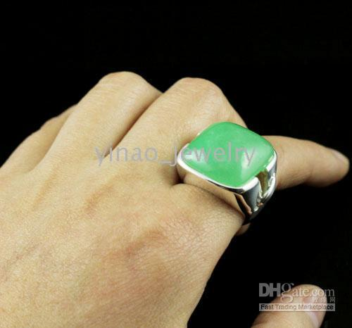 Wholesale Sterling Silver Rings Fashion Jewerly Fancy Jade Gemstone Rings With Pouches