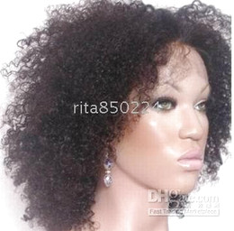 Human hair wigs 14 inches Afro curly indian remy hair full lace wig dark brown wigs