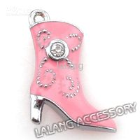 Wholesale Christmas Pink Boots Charms Pendants Beads Jewelry Accessory For Bracelets