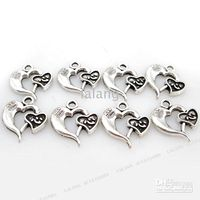 Wholesale Christmas Ornaments Gifts Alloy Double Heart Charms Metal Pendants Loop Beads