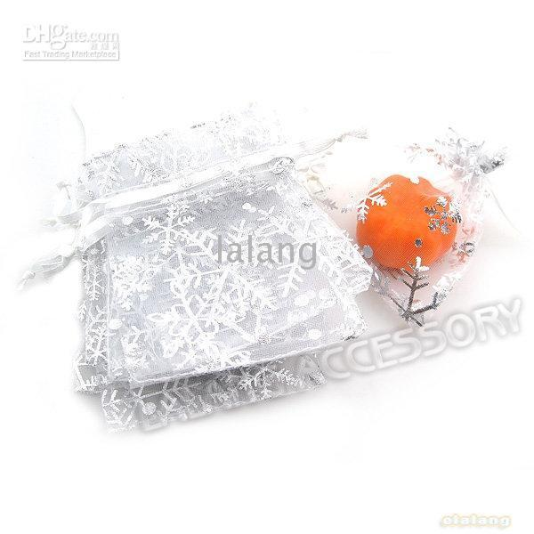 Wholesale New White Snowflake Christmas Gifts Bags Organza Pouches Wedding Favour x900mm