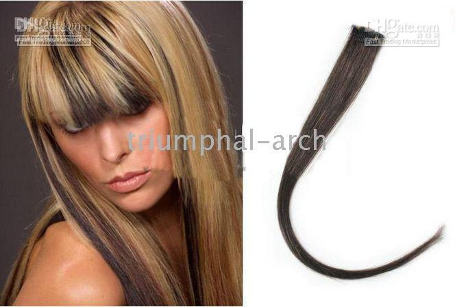 Wholesale 18 quot Highlight Single Clip in Hair extensions for Celebrity Hairstyle human hair