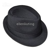 Wholesale Black Pinstripe Fedora hats Caps Classical Hat Solid Stingy Brim Cap Gangster Unisex
