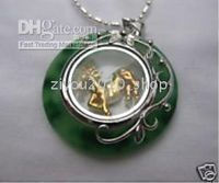 Wholesale Christmas green jade Horse Jewellery Pendant Necklace