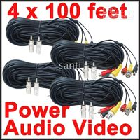 Wholesale 4 Pack of feet Security Camera CCTV Audio Video Power Cables with Free BNC RCA Adapters