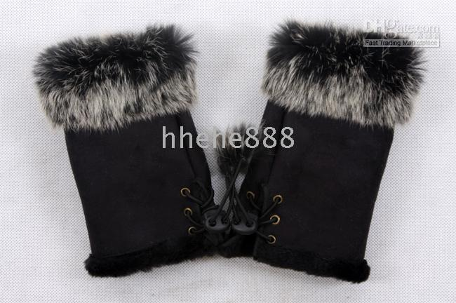 Wholesale Hot selling Rabbit fur gloves rabbit hair FINGERLESS GLOVE gloves Xmas Rabbit Fur HAND