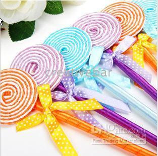 Wholesale Flat Shape Lollipop Ball Point Pen Kids Toys Cute Stationery School Gift
