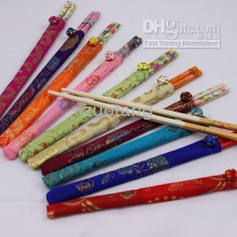ECO Friendly bamboo chopsticks lot - Unique Disposable Bamboo Wedding Chopsticks Favors With Silk Pouch pair