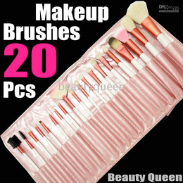 Wholesale 20 pcs PONY GOAT HAIR MINERAL PRO MAKEUP COSMETIC BRUSHES SET Pink Leather Pouch FREE SHIP