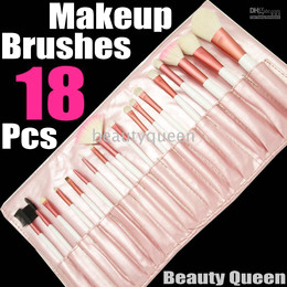 Wholesale 18 pcs PONY GOAT HAIR MINERAL PRO MAKEUP COSMETIC BRUSHES SET Pink Leather Pouch FREE SHIP