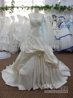 Wholesale 2011 Arrival pleated court train ivory embroidery satin Bride Wedding Dresses bridal dress